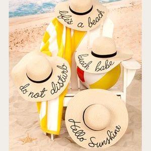 Embroidered Sentiment Floppy Wide Brim Sun Hats